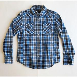 G-Star Checked Shirt - Blue Black & White - Large